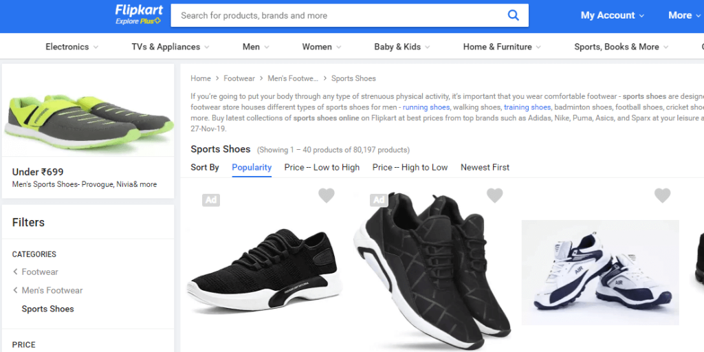 mens sports shoe listing page