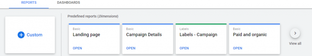 google ads reports page