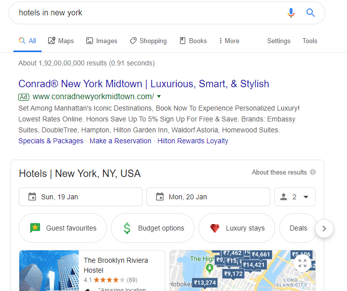 google hotel ads on search