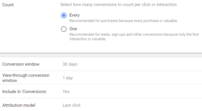 Conversion count